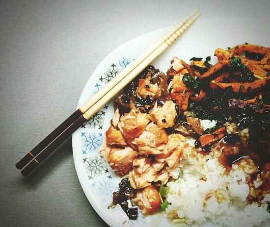 Food Porn Awards Japanese Food Foodphotography Details Plate Vintage Decor Chopsticks Teryaki Salmon Yummy♡