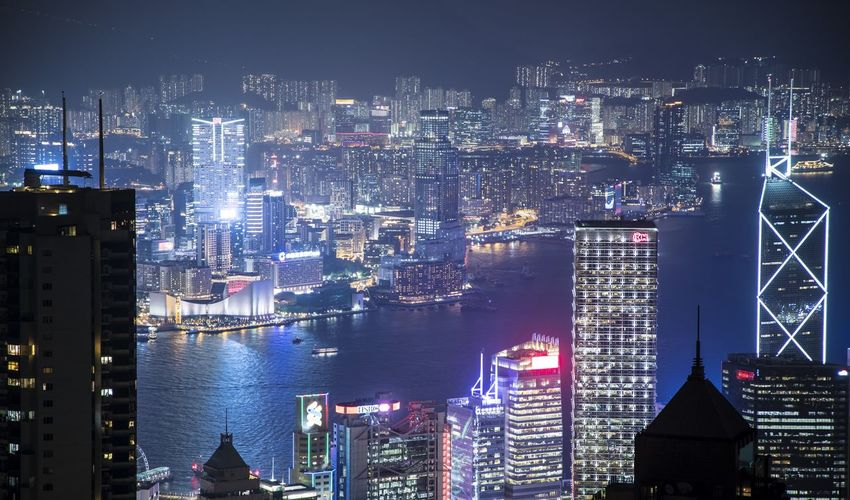 Victoria Harbour Architecture Bay Building Exterior Built Structure City City Life Cityscape Development Downtown District Illuminated Modern Night No People Outdoors Sky Skyscraper Travel Destinations Urban Skyline