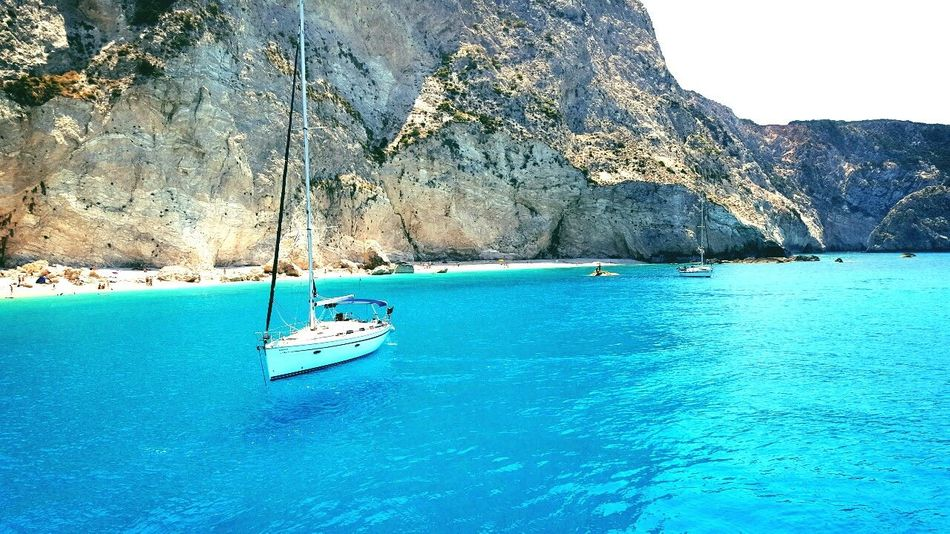 Water Blue Sea Beauty In Nature Waterfront Nature Bluewater Boat Sealing Greecememories GREECE ♥♥ Lefkada, Greece SummerMemories✌️ Vacation