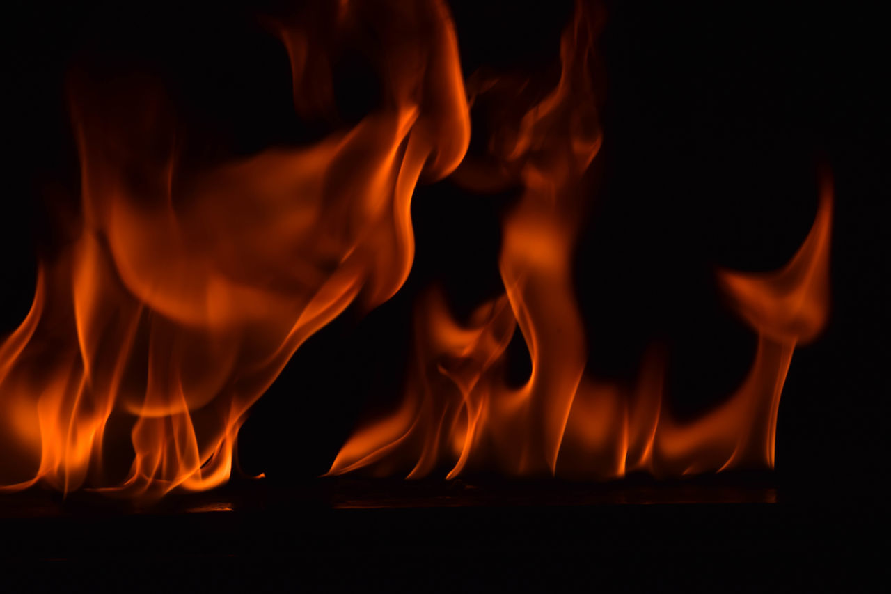 flame, fire - natural phenomenon, burning, heat - temperature, orange color, glowing, night, motion, no people, bonfire, indoors, close-up