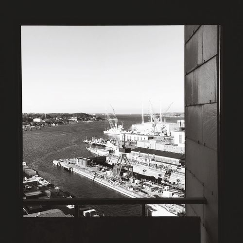 Landscapes With WhiteWall Light And Shadow Black And White Black & White Construction Site Landscape_Collection Kieler Förde Kielerwoche Ausblick View From Above Window Seaside Kiel Werft HDW Meer Crane Waterfront Water Sea Shipyard Here Belongs To Me