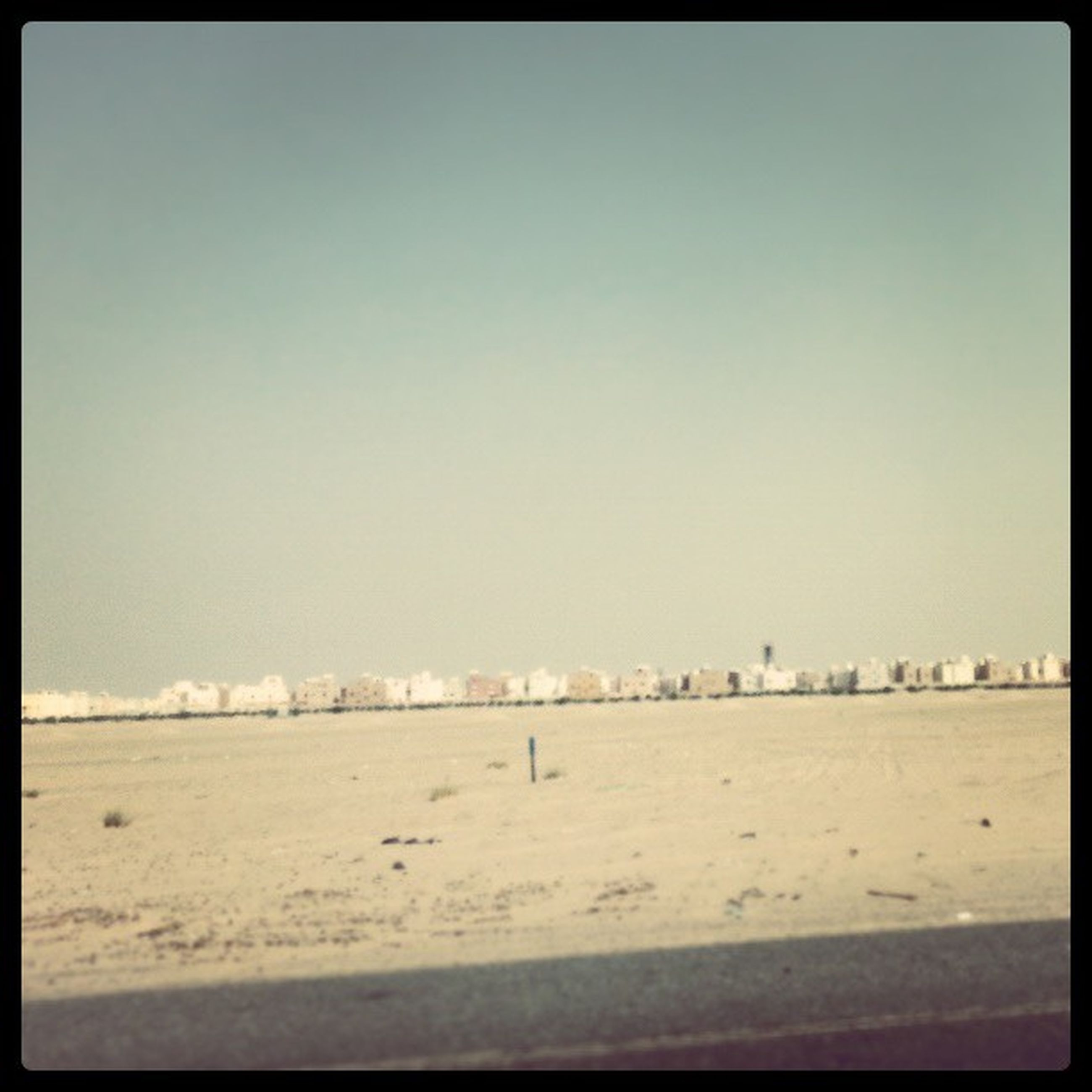 transfer print, auto post production filter, clear sky, copy space, sand, beach, winter, snow, cold temperature, landscape, tranquil scene, tranquility, nature, scenics, day, weather, outdoors, season, beauty in nature, building exterior