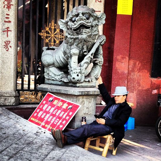 Animal Representation China Chinese Lion February Ganzhou Relaxing Religion Temple