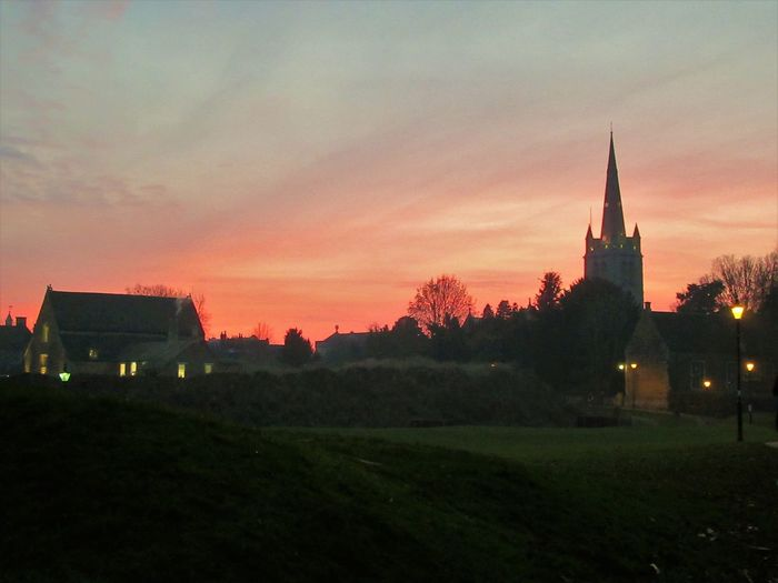 Oakham Church and castle by sunset Architecture Building Exterior Built Structure Castle Church Cityscape Cloud - Sky Landscape Nature Outdoors Place Of Worship Religion Sky Street Light Sunset Tree