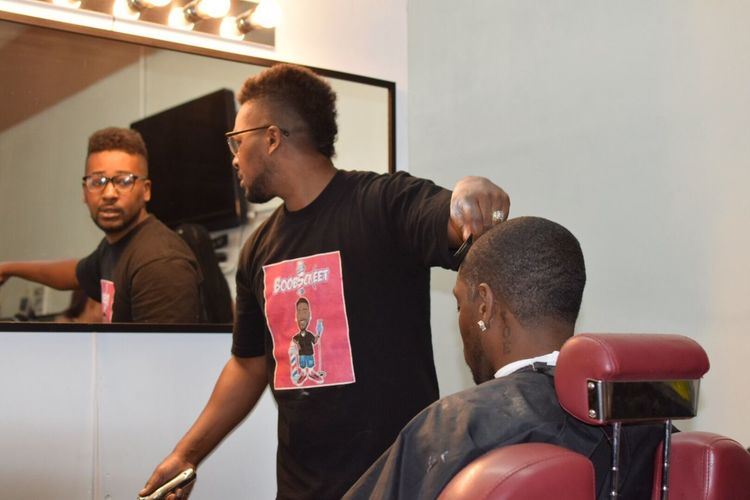 Mirror Reflection Working Mid Adult Men Barbering Skill  Occupation