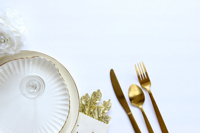 Wedding reception Above Background Bridal Bride And Groom Celebrate Concept Copy Space Decorations Dishes Elegant Festive Food Frame Gold Meal Mock Up Objects Place Setting Reception Restaurant Style Table Setting Wedding White White Color