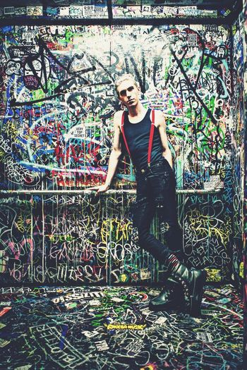 Fashion Forever Punk Graffiti Suspenders Style Blonde Young Guy Rebel Trendy Dude henkholveck.com