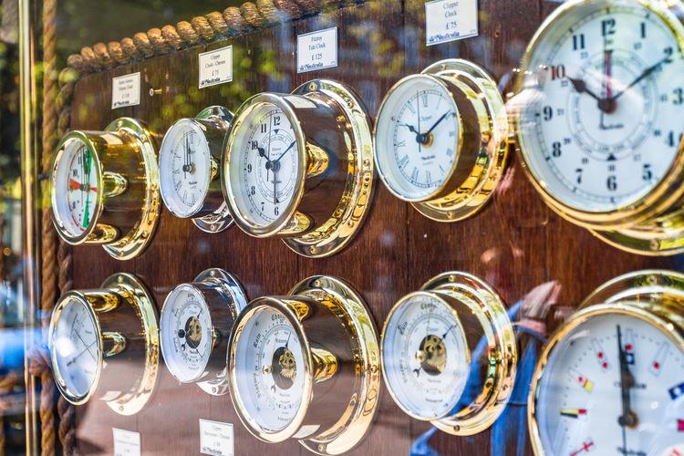 Close-up of clocks at store
