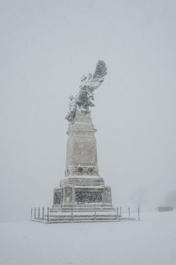 Monument Statue Memorial Scott Of The Antartic Explorer Snow Snowstorm Plymouth England