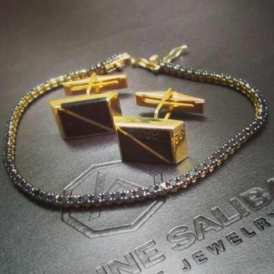 ONLY FOR HIM #Black #Diamonds #Bracelet with 18kt #Gold #Cufflinks #Jewelry #Fashion #Luxury #Elegant #Beautiful #Men's #instalike #instagood #instanow #musthave #AntoineSaliba #Lebanese #Jewelry #Designer #Beirut #Byblos #Lebanon antoinesaliba.com #biggest #online #jewelry #store