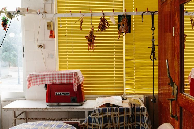 My grand mothers old butchery Paint The Town Yellow Tradition Architecture Buchery Greece Hanging Indoors  No People Traditional Yellow #urbanana: The Urban Playground