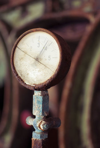Close-up of rusty clock