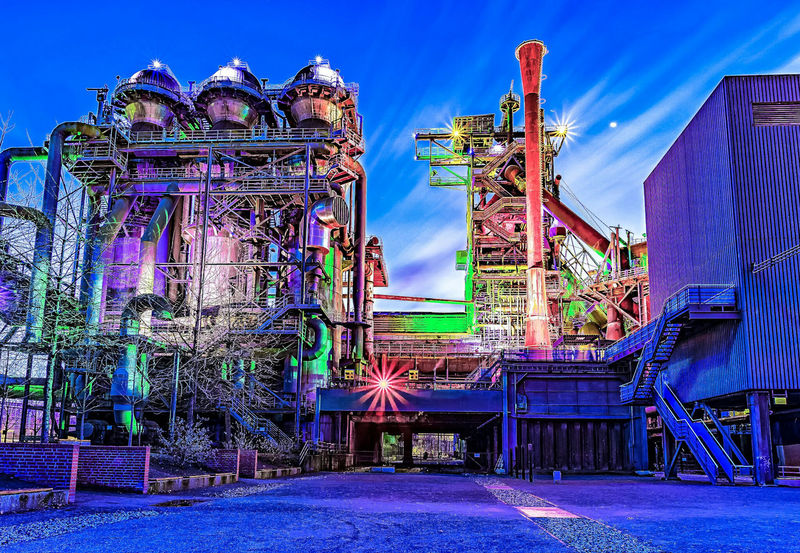 Travel Destinations Architecture Longexposure Steel Factory Factory No People Industry Multi Colored Blue Hour Night Lights Cultures Illuminated First Eyeem Photo EyeEmNewHere
