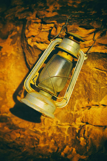 High angle view of illuminated lamp
