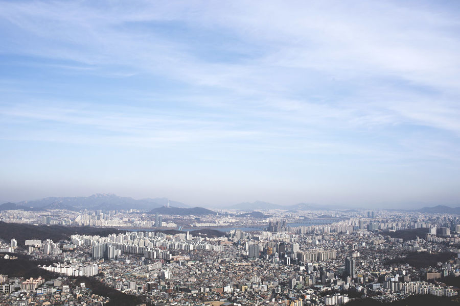 Architecture Building Exterior Built Structure City Cityscape Crowded Day High Angle View Korea Mountain Nature Outdoors Residential  Residential Building Seoul Seoul, Korea Sky