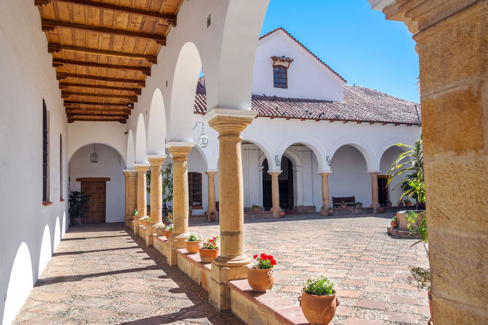 Courtyard of the House of Independence, where Bolivian independence happened America Andes Arch Architecture Background Bolivia Bolivian Building Capital City Cityscape Culture Day House Landmark Landscape Latin Outdoors South Street Sucre Town Travel Urban View