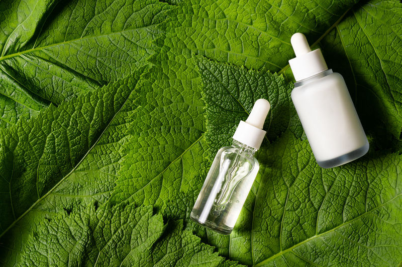 High angle view of green bottles