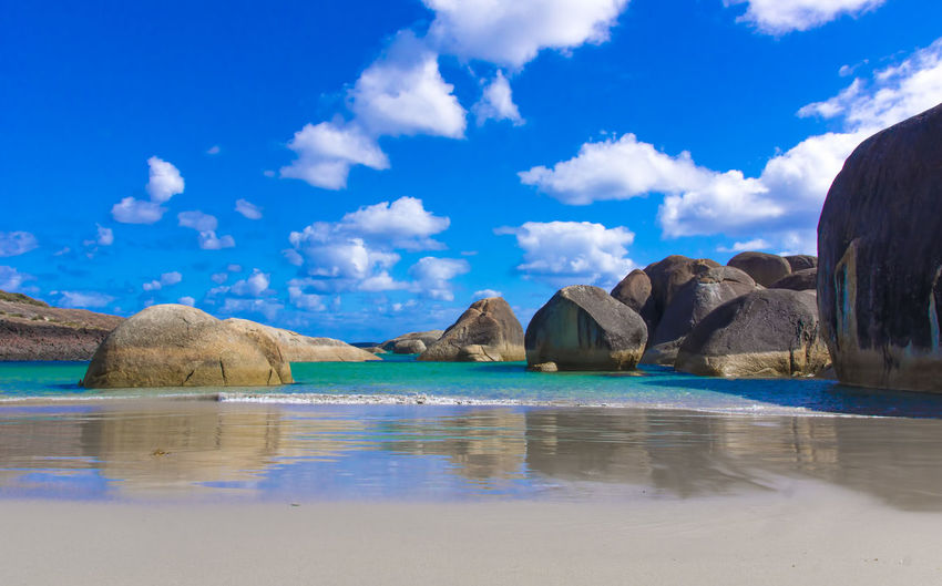 Beauty In Nature Blue Cloud - Sky Day Elephant Rocks Idyllic Land Nature No People Reflection Rock Rock - Object Scenics - Nature Sea Sky Solid Tranquil Scene Tranquility Water Water Mirror Effect Waterfront