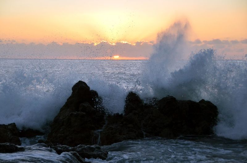 Beauty In Nature Horizon Over Water Motion Nature Outdoors Scenics - Nature Sea Sky Sunset Water