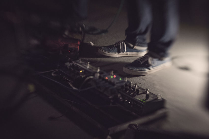 Arts Culture And Entertainment Blur Close-up Foot Gig Guitar Guitarist Indoors  Lensbaby  Live Music Music Music Photography  Musician Selective Focus Shoes Sneakers Technology EyeEm Gallery