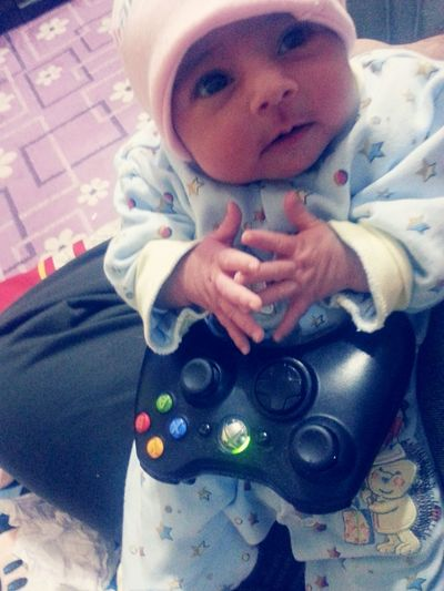 My 3days old daughter playing xbox Hello World First Eyeem Photo