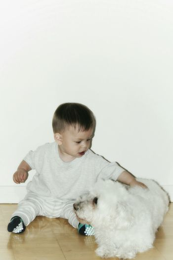 Toddler Sitting With Dog On Floor Against White Wall