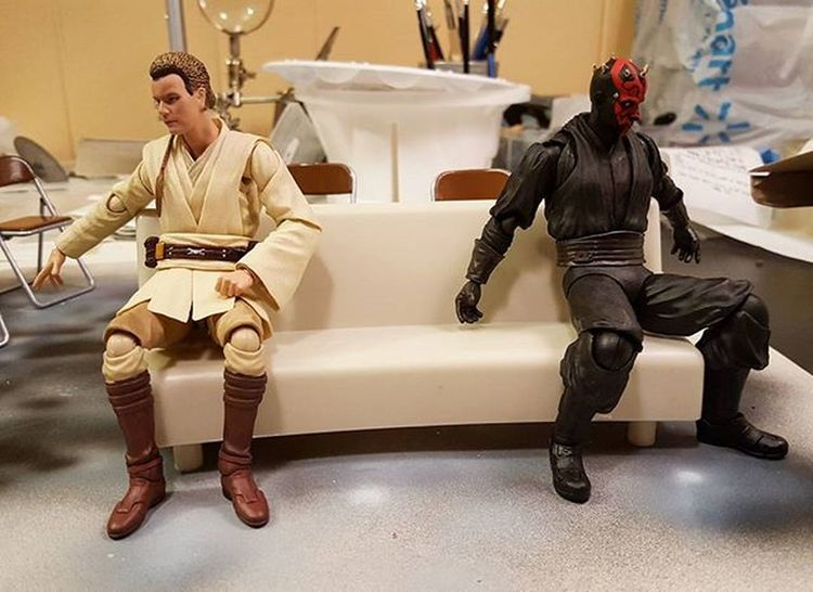 """-I'm not speaking to you. -Me neither... 😐... 😒... Last test-shot with that """"potentially bootleg"""" SHF Tony's Sofa. BL or not, The potential for using it is quite good 😉 ... working on the background and other furniture/trinkets and whatnots. Starwars Actionfigures BANDAI SHfiguarts Obiwankenobi DarthMaul Tonystark Sofa Actionfigurephotography Toys Toyphotography Toypics Toyart Toyartistry StarWars6inch Starwarsactionfigures Starwarstoys"""