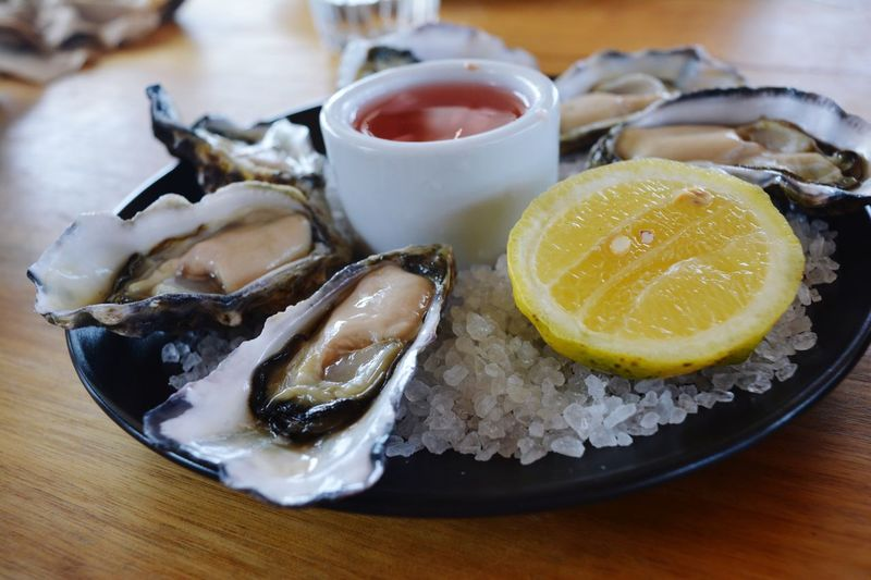 Fresh oysters Fresh Seasalt Oysters Lover Oysters On The Half Shell Food And Drink Food Citrus Fruit Freshness Healthy Eating Lemon Fruit Seafood