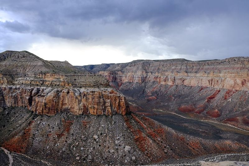 Idyllic View Of Grand Canyon National Park Against Cloudy Sky
