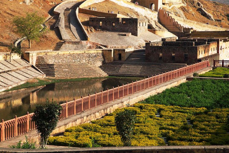 Low Angle View Of Amber Fort On Sunny Day