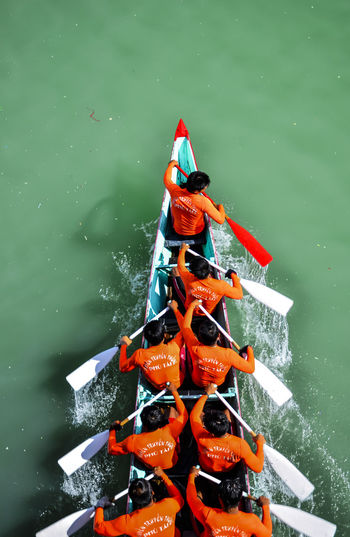 High angle view of people rowing