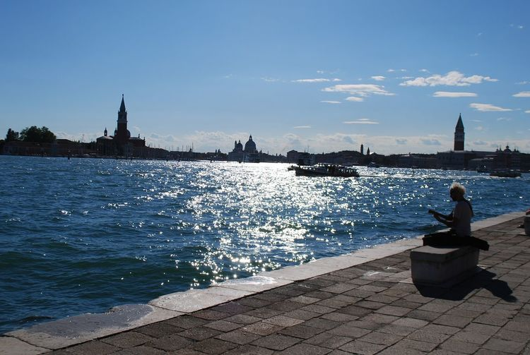 Awesome_view WaterLovers Waterlover Clear Sky Sunnyday Timeless Venice, Italy Water Outdoors Sky One Person Vacations Day Adults Only Full Length Adult City Nature Young Adult Musitian Music And Nature Music And Lights Sun Reflection On Water Adventures In The City