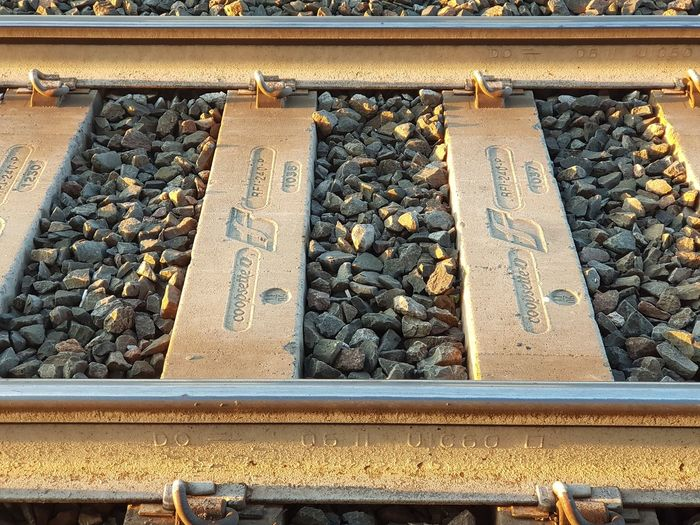 High angle view of text on railroad tracks