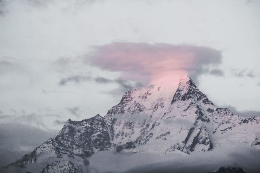 Mountain Winter Beauty In Nature Cold Temperature Sky Scenics - Nature Snow Cloud - Sky Snowcapped Mountain Tranquil Scene Tranquility Mountain Range Nature No People Mountain Peak Non-urban Scene Environment Landscape Idyllic Extreme Weather Sun Tall - High Event Himalayas Beauty