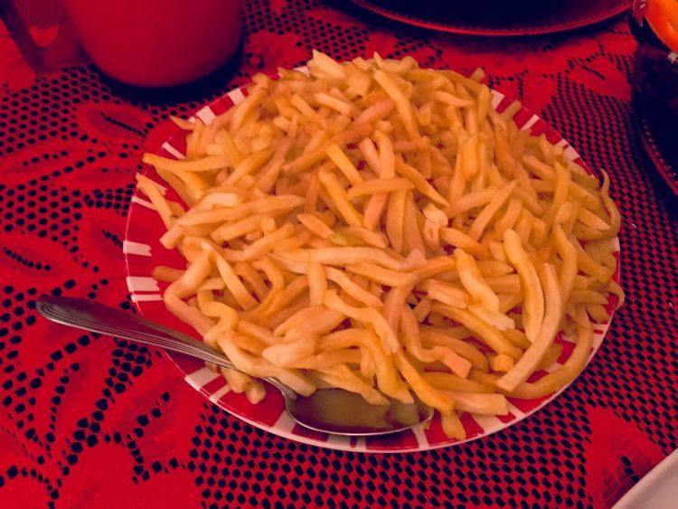 Fried potatoes Fried Potatoes Food And Drink Food Still Life Indoors  Table No People High Angle View Close-up Freshness Ready-to-eat Tablecloth Unhealthy Eating Fast Food Day Food Stories