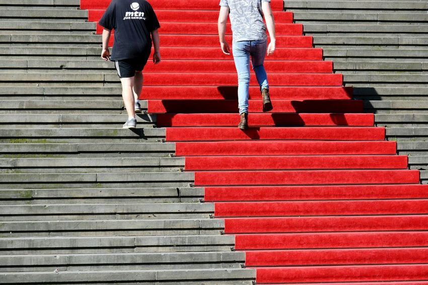 The Way Forward Steps And Staircases Walking Moving Up Red Stairs Outdoors Day Real People The Week On EyeEm