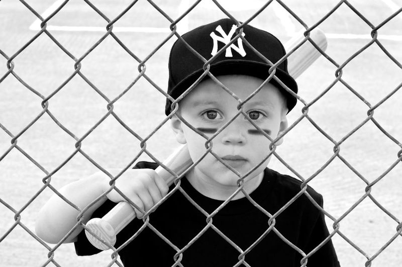 Baseball Black & White Boys Chainlink Fence Childhood Elementary Age Fence Leisure Activity Person Yankees