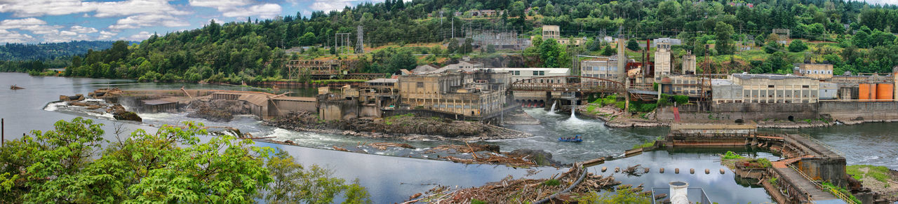 Willamette Falls Panorama Flowing Water Bridge Building Outdoors Motion High Angle View River Travel Destinations No People Day Building Exterior Reflection Plant Nature Tree Built Structure Architecture Water Willamette Falls Panoramic Photography