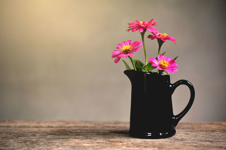 Pink Flowers In Pitcher On Wooden Table Against Wall