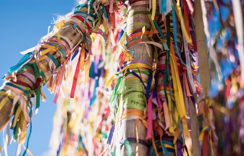 Low angle view of colorful ribbons