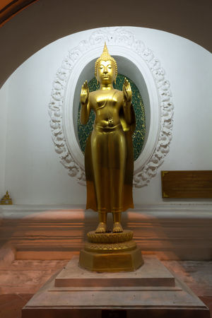 Art And Craft Day Gold Colored BuddhaBuddhist Large Group Of People Buddha Standing Travel Yellow Human Representation Indoors  No People Religion Sculpture Spirituality Statue Thailand Nakhon Pathom Store Outdoors Real People Gold Close-up Male Likeness Built Structure Old Buddha Statue