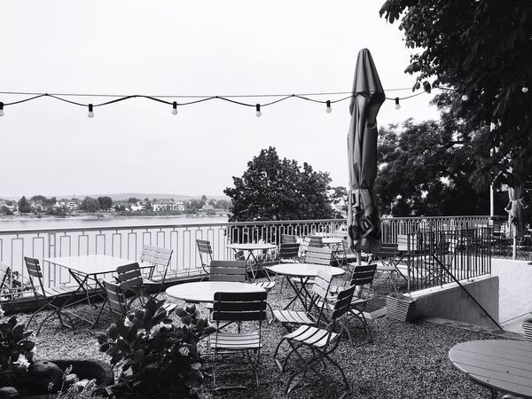 German Beer Garden Beergarden  Rhine Rhein Rheinufer Biergarten Beer Bonn Germany Black And White Friday