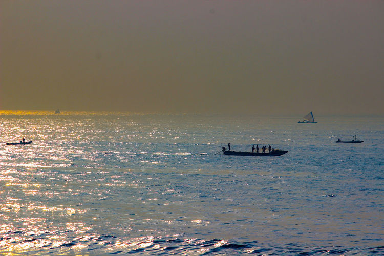 MORNING IN THE SEA Water Sea Beach Silhouette Sky Horizon Over Water Seascape Tide Low Tide Fishing Boat Wave Trawler Surf Buoy Jet Boat