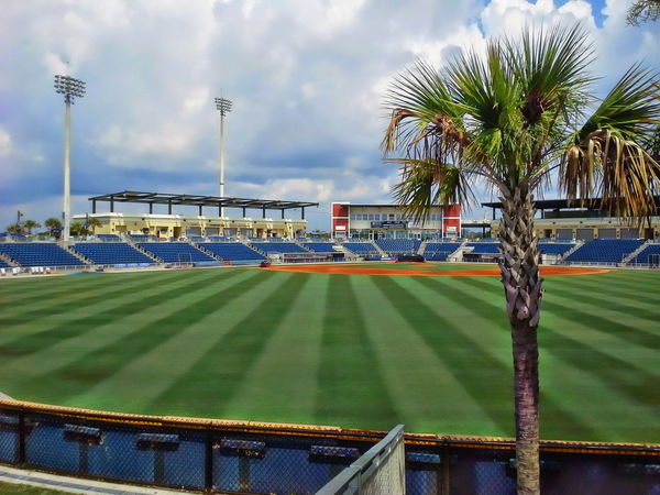The Pensacola Bayfront Stadium is considered one of the most premier facilities in Minor League Baseball Baseball Football League Pensacola Stadium USA Activity Bayfront Cloud - Sky Day Florida Minor No People Outdoors Playing Field Sky Sport Stadium