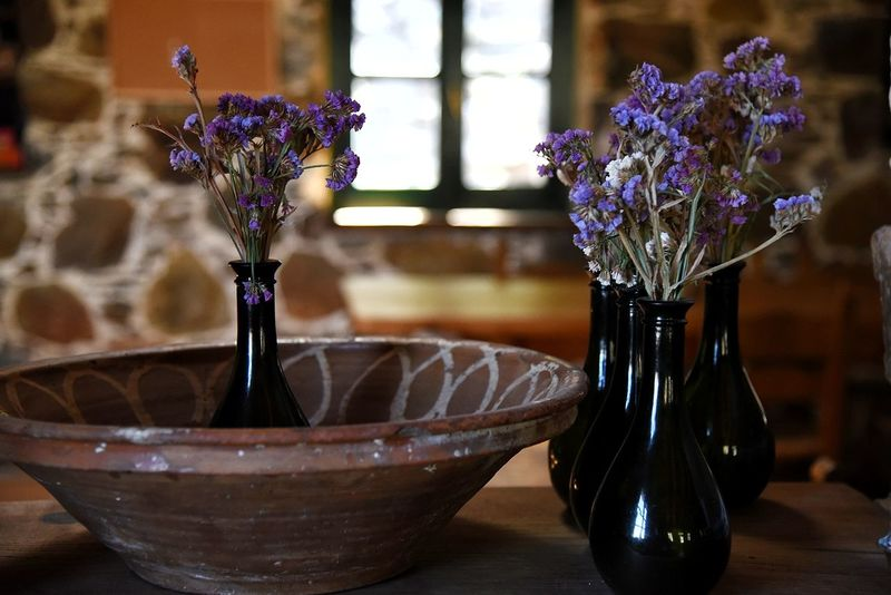 Purple Flower Vase Indoors  Home Interior Close-up Bouquet Flower Head Vase Decoration Vase Of Flowers EyeEm Selects Interior Views Interior Design Decor Freshness Flower Collection Decoration Perfume Inside Window Stone Wall No People Domestic Room