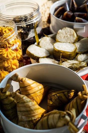 Traditional malay food and cookies during ramadan and eid mubarak. hari raya aidilfitri.