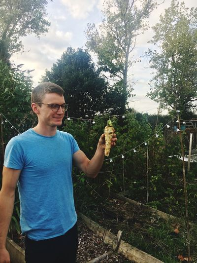 Vegetable Parsnip Allotment Life Real People One Person Lifestyles Casual Clothing Leisure Activity Plant Nature
