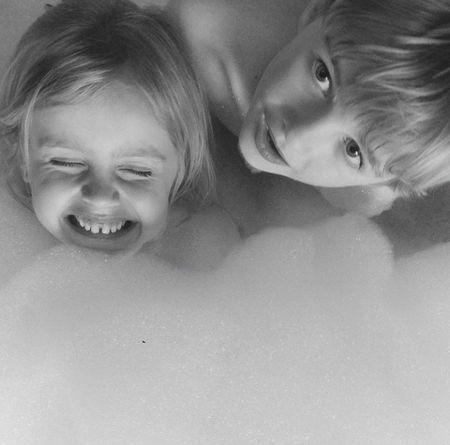 Blackandwhite Bath Bathroom Foam Water Childeren Smile Child Children Only Childhood Happiness Smiling People