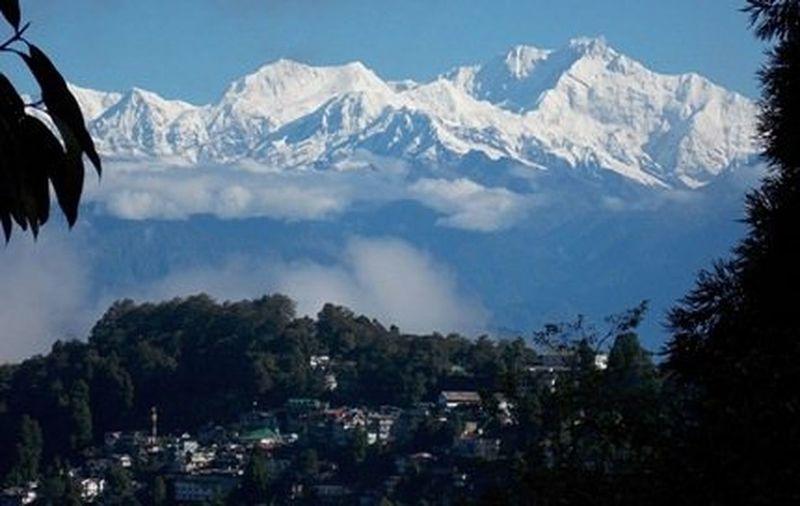 Mountain range with snow covered at Darjiling. Mountain Range