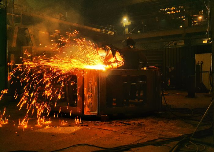 ... Steel Structure  Fabric Reflection Lights Shadows Shadow Work Ndt Light Indoors  Heat - Temperature Men Glowing Burning Manual Worker Occupation Metal Industry One Person People Welder Working